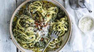 Hetty McKinnon says frozen spinach is the magic ingredient in this simple vegetarian pasta.