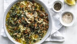 One-pot chicken, spinach and orzo stew.