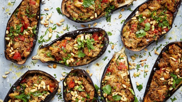 Easy red lentil dhal Spinach and chickpea curry (in orange pan) Stuffed eggplants This is an edited extractDeliciously Ella Quick and Easy byElla Mills, published byHachetteAustralia, RRP $34.99. Food photography by Nassima Rothacker ©Hodder & Stoughton 2020 Single use only