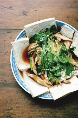 Hetty McKinnon's steamed tofu and shiitake mushrooms with ginger, spring onionand soy.