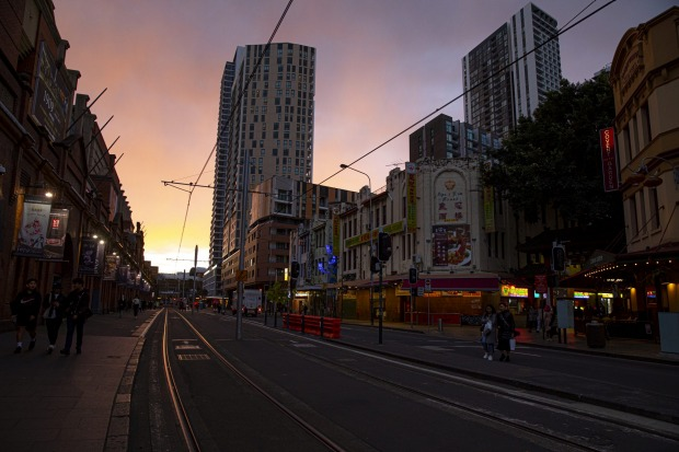 The tram lines which would normally be carrying thousands of revellers is eerily quiet.