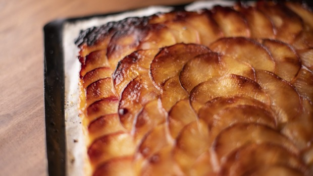 A square of caramelised apple tart is delightful.