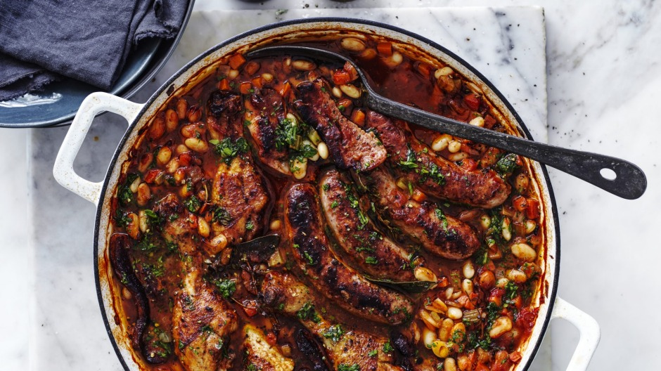 Chicken and sausage cassoulet.