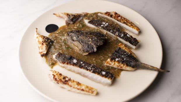 Charcoal rock flathead with diane sauce.
