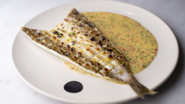King George whiting with sudachi and finger lime sauce.