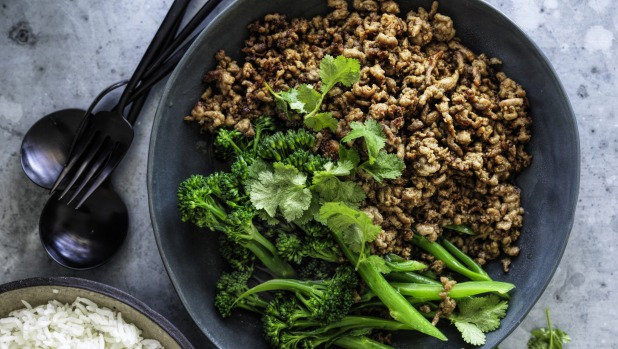 ***EMBARGOED FOR SUNDAY LIFE, AUGUST 2/20 ISSUE*** Adam Liaw recipe : Mince with oyster sauce Photograph by William Meppem (photographer on contract, no restrictions)