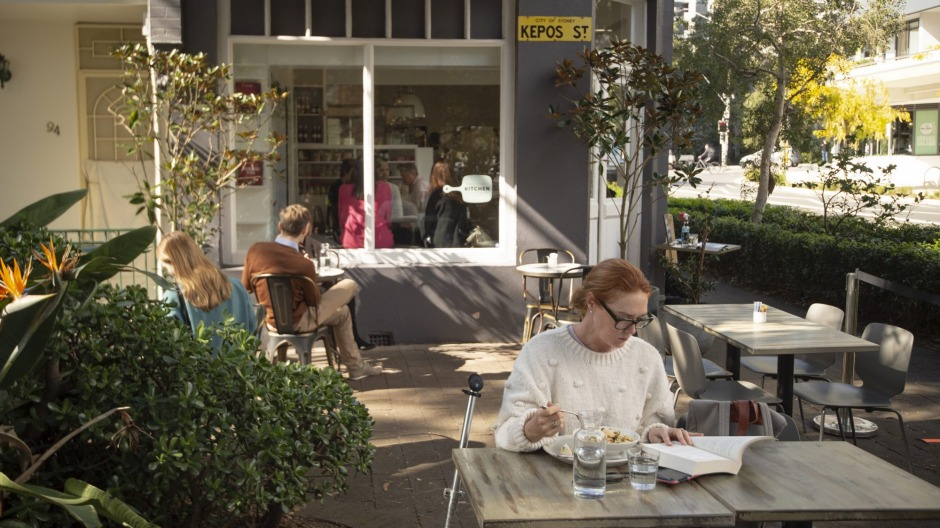 Diners outdoors at Kepos Street Kitchen in Redfern.