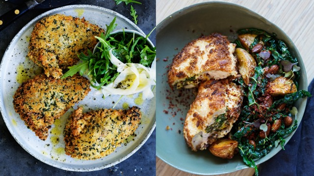 Neil Perry's classic chicken Kiev (left) and Katrina Meynink's Middle Eastern chicken kiev.