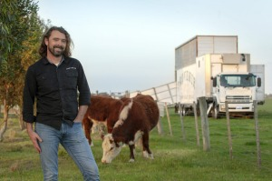 Chris Balazs from Sage Farm in Bannockburn with the mobile abattoir which swung into action this week.
