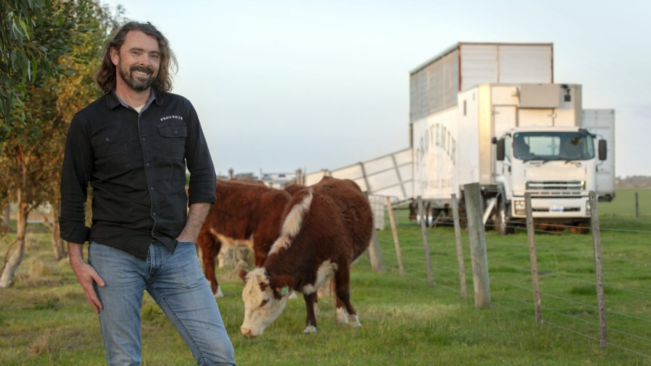 ChrisBalazs from Sage Farm in Bannockburn with the mobile abattoir which swung into action this week.
