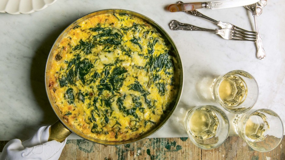 Blissfully cheesy: Spinach, mint and melted cheese Syrian frittata.