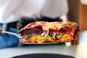 Katrina Meynink's Rainbow lasagne recipe for Good Food August 2020. Vegetarian lasagne. Please ...