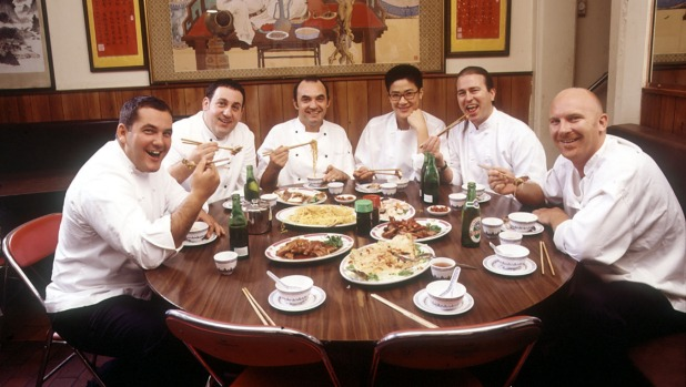 The restaurant was a favourite for Sydney's top chefs, including Neil Perry (second from right) and Matt Moran (far right).