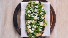 Grilled flatbread, wild garlic paste, barbecued lobster and greens.