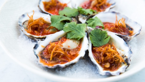 Half dozen oysters with red chilli lime dressing.