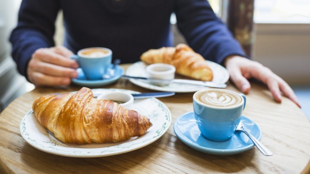 Coffee and croissant. French breakfast for two (Paris, France) croissants in paris for Good Food Aug 12, 2020
