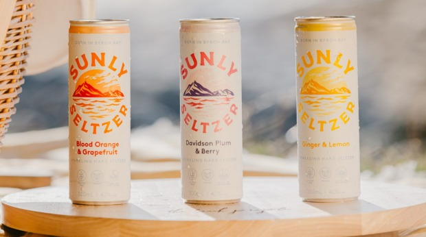 The Sunly Seltzer line up, made by Stone & Wood brewery in Byron Bay.