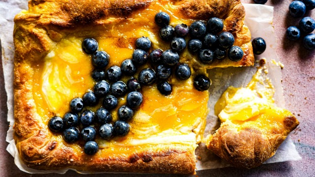 Lemon ricotta and blueberry brioche slab.