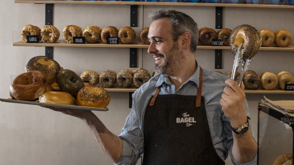 Bagel Co. owner Barry Kluwgant at his new Surry Hills store.