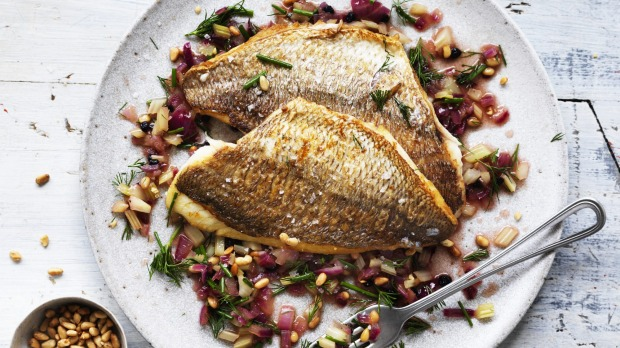 Neil Perry's pan-fried snapper with warm Sicilian salad.