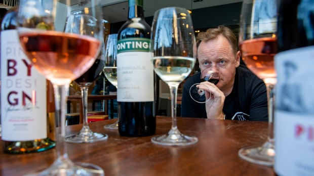 Wine taster Stuart Knox tasting  celebrity wines at his Sydney CBD bar and restaurant, Fix.