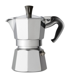 Barrett has an Italian stovetop coffee maker for home use.