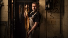 Nicholas Hill with his smoked longfin eels at Hungerford Meat Co in Branxton.