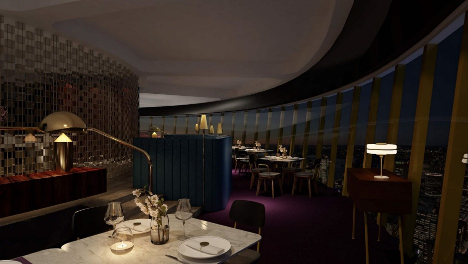 A render of the new Infinity restaurant at Sydney Tower.