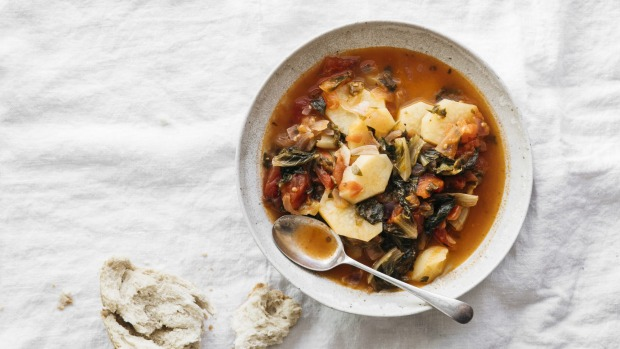 This is an edited extract from Ikaria: Food and Life in the Blue Zone by Mene Valle, published by Hardie Grant Books RRP $45. Photography by Lean Timms. Lahanika me avga (baked vegetables with eggs) Prasino kolaro me patates (collard greens with potatoes) Psita revithia (baked chickpeas) Portokalopita (orange pie with filo and syrup) Single use only