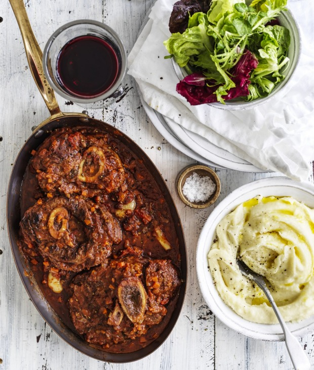 Braised veal osso bucco with potato puree. Just add a green salad and glass of red.