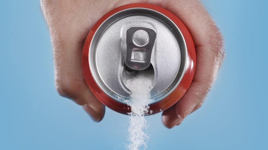 Each 375-millilitre can of soft drink contains at least nine teaspoons of sugar.