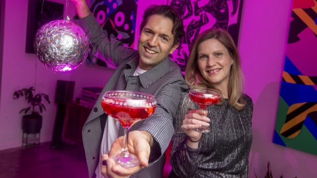 Ready to party: Ben Shewry and Kylie Staddon with pink champagne jellies.