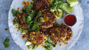 Versatile chicken and corn patties.