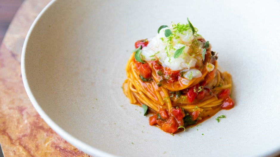 Summery dishes: Spaghetti chitarra with cured scallop.