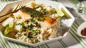 This coriander rice and coriander sauce combo checks all the boxes.