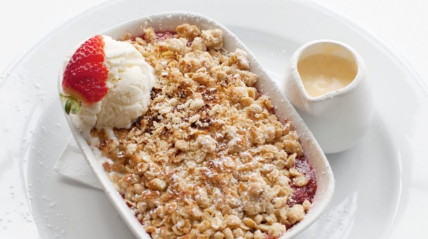 Apple and rhubarb crumble at Micky's Cafe.