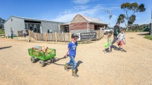 Jason and Belinda Hagan's farmgate store near Tooborac. Son Eric helps carry a customer's shopping to their car in his cart.