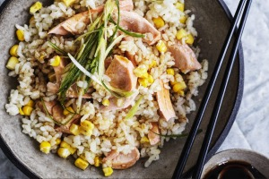 Adam Liaw's simple salmon and corn rice will please kids and adults alike.