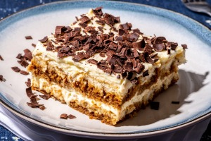 Tried and tested tiramisu topped with chocolate shavings.