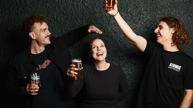 Brand lead Clint O'Hanlon (left), venue manager Natalie Leishman and head brewer Nick Ivey.