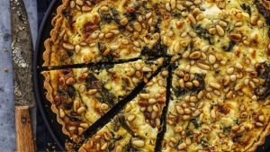 Spring quiche: Spinach tart with pine nuts, herbs and three cheeses.