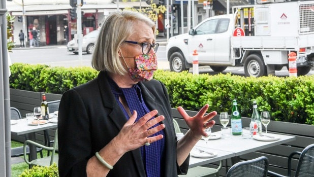 Melbourne Lord Mayor Sally Capp, pictured at Faraday Street in Carlton, is giving shape to the outdoor dining plan.