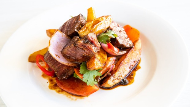 The sole main course, lomo (eye fillet with vegetables).