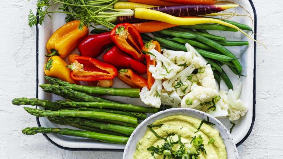 Spring vegetables with tuna and turmeric dip.