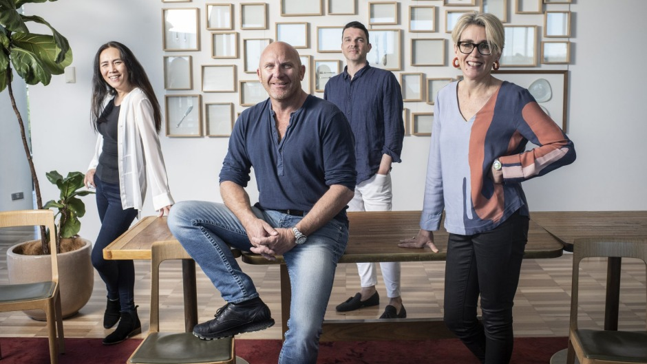 From left, Tianli Zu, chef Matt Moran, Jonathan Dalton and Jane Guthleben. Moran is collaborationg with Archibald Prize ...