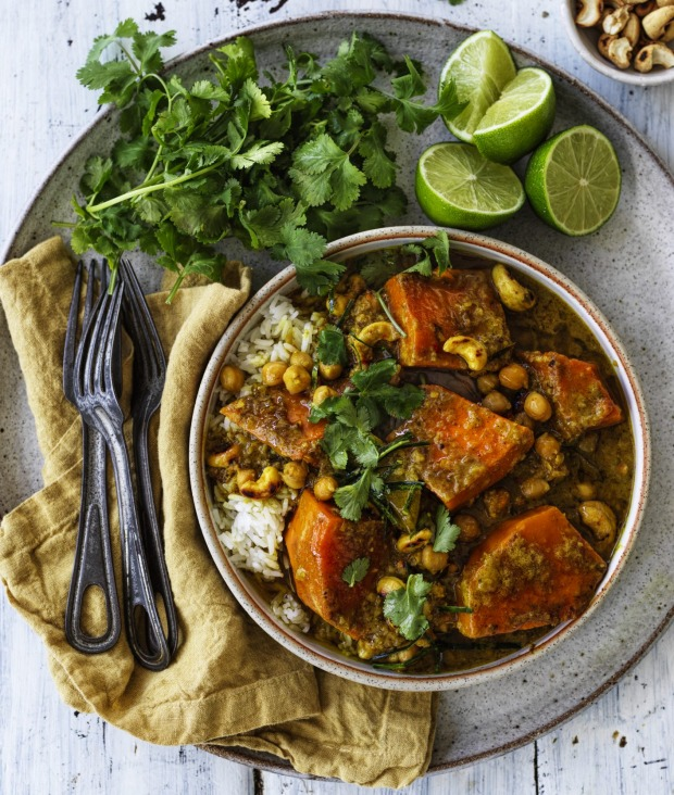 Chunky pumpkin and chickpea curry.
