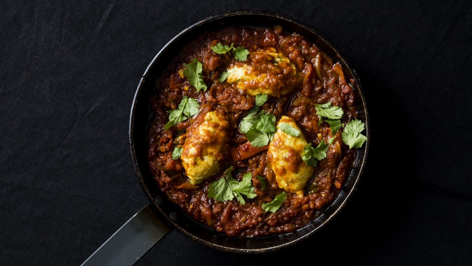 Punchy meat-free flavour: Shakshuka with coriander dumplings.