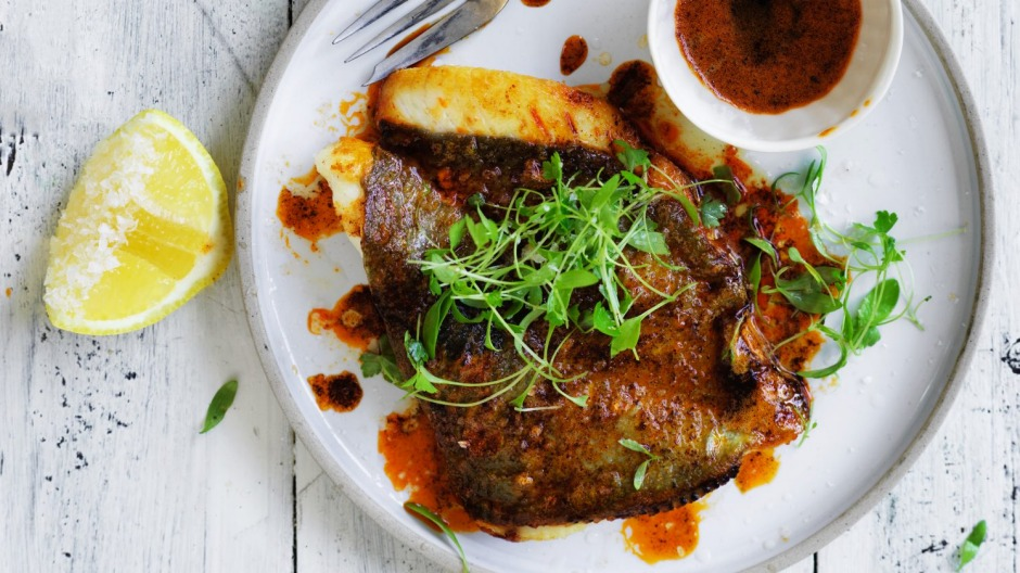 Adam Liaw's pan-fried John Dory with paprika butter.