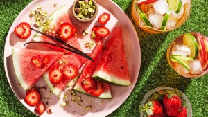 Watermelon and strawberry salad, pictured with my iced tea.