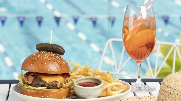 Wagyu beef burger at Poolside Cafe at Boy Charton Pool. Photo by Cole Bennetts Wagyu burger at the Poolside Cafe at the Andrew (Boy) Charlton pool.